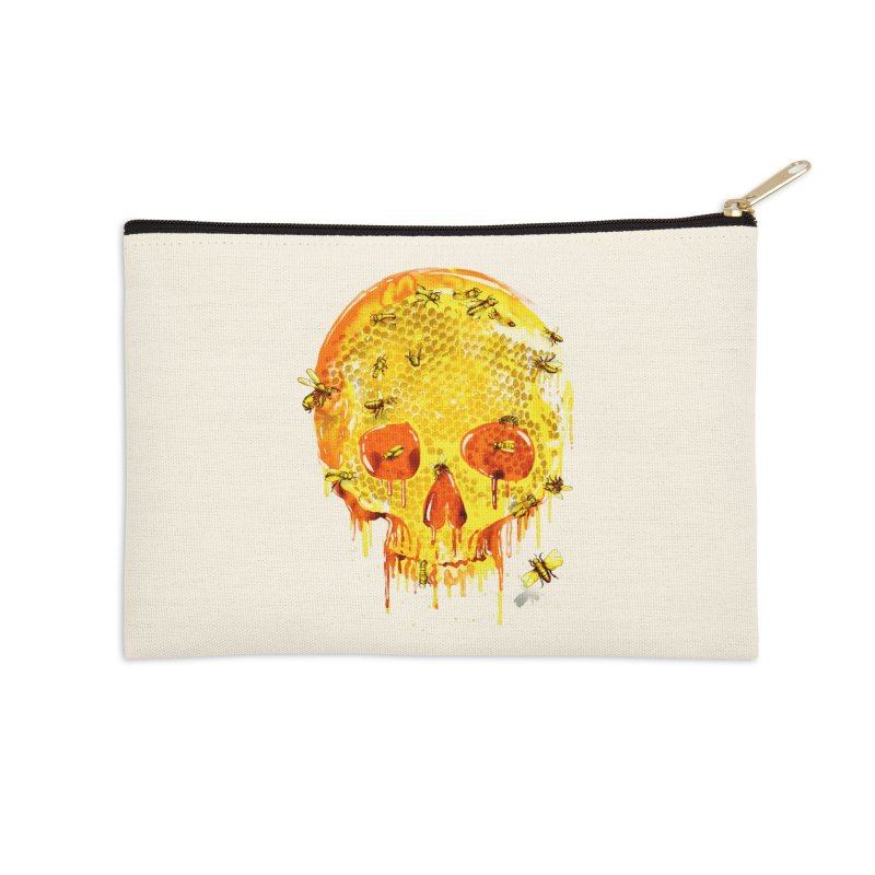 HONEY SKULL Accessories Zip Pouch by Emerson Rauth