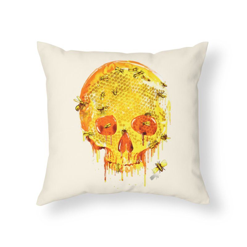 HONEY SKULL Home Throw Pillow by Emerson Rauth