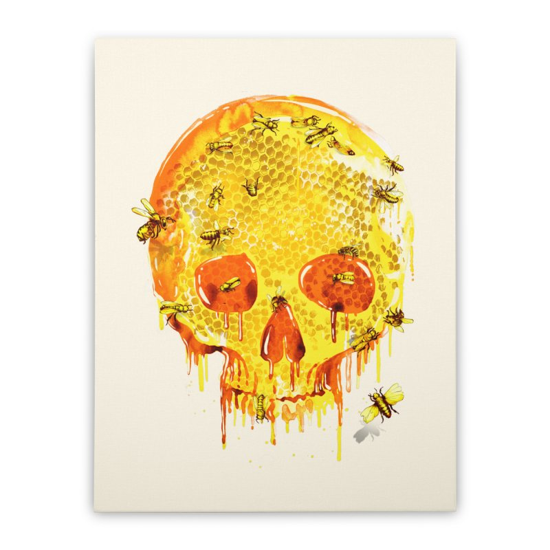 HONEY SKULL Home Stretched Canvas by Emerson Rauth
