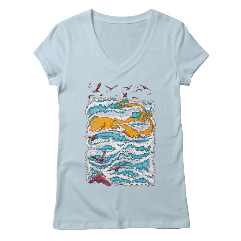 The Golden Whale Women's V-Neck by Emerson Rauth