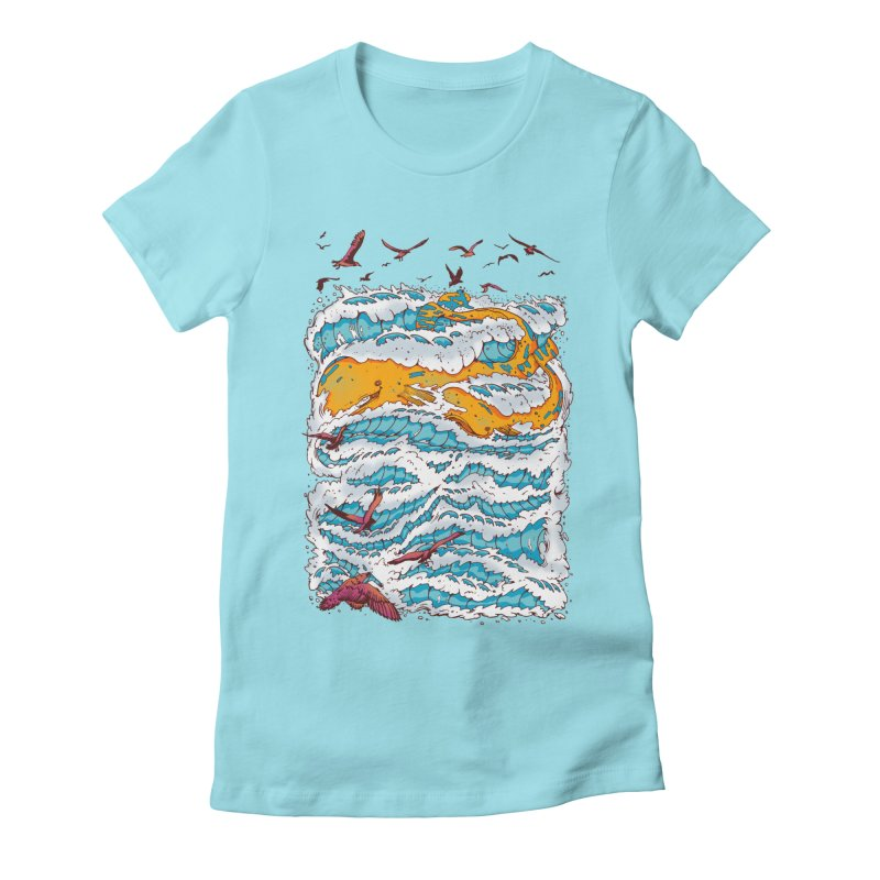 The Golden Whale Women's Fitted T-Shirt by Emerson Rauth
