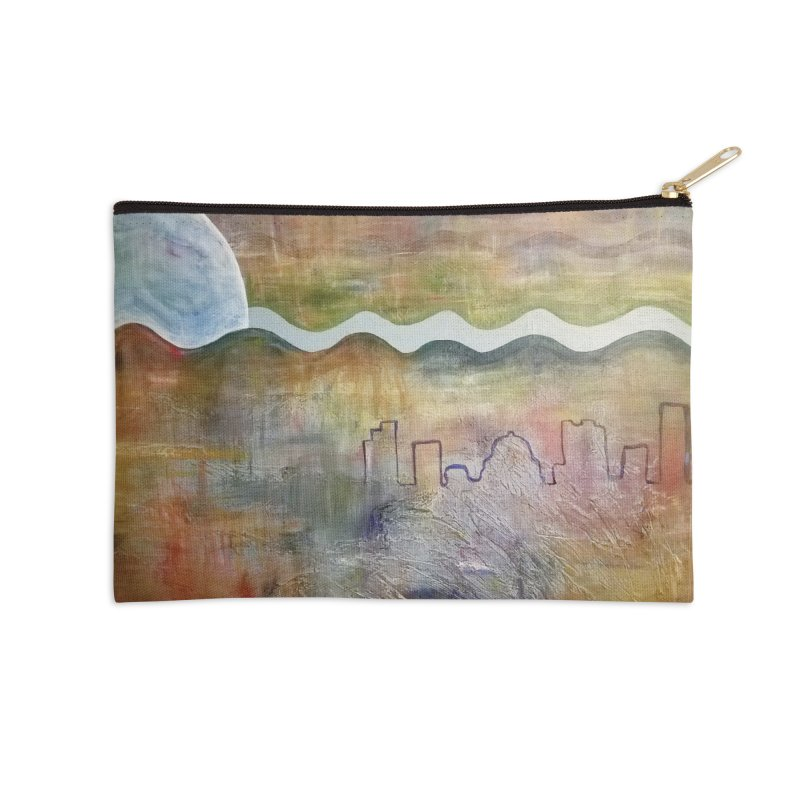 Moon City Scape Accessories Zip Pouch by emilyhanigan's Artist Shop