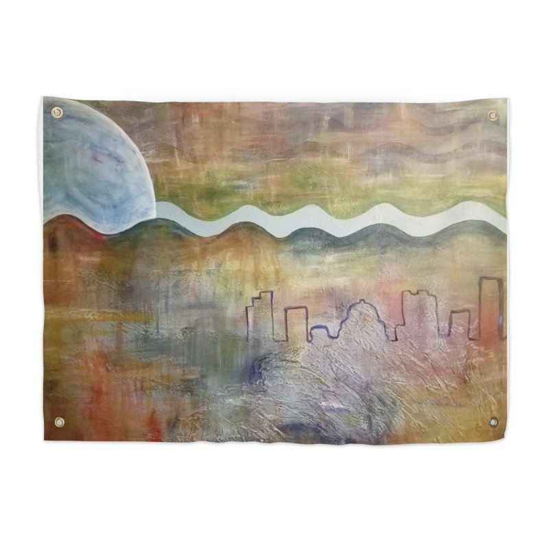 Moon City Scape Home Tapestry by emilyhanigan's Artist Shop