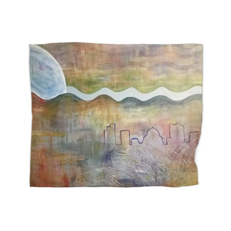 Moon City Scape Home Blanket by emilyhanigan's Artist Shop