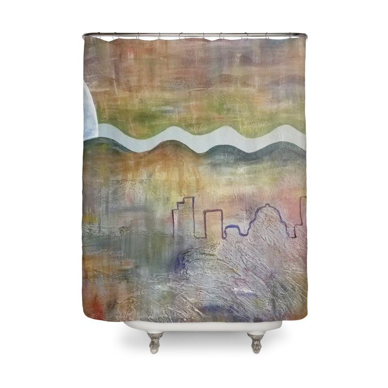 Moon City Scape Home Shower Curtain by emilyhanigan's Artist Shop