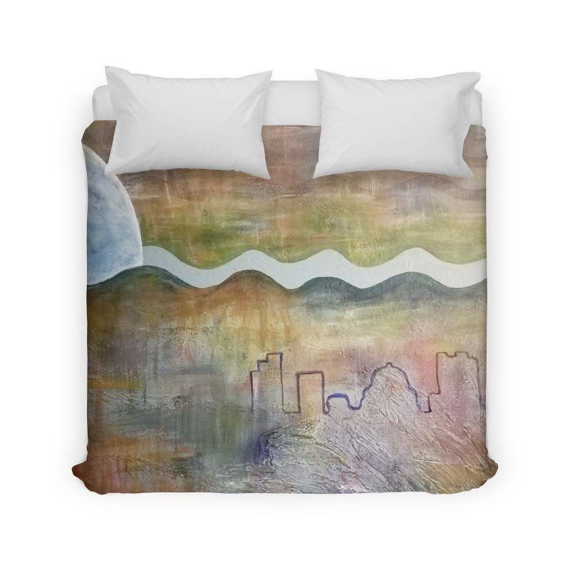 Moon City Scape Home Duvet by emilyhanigan's Artist Shop