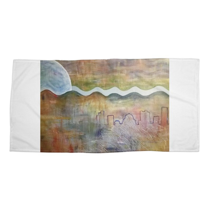 Moon City Scape Accessories Beach Towel by emilyhanigan's Artist Shop