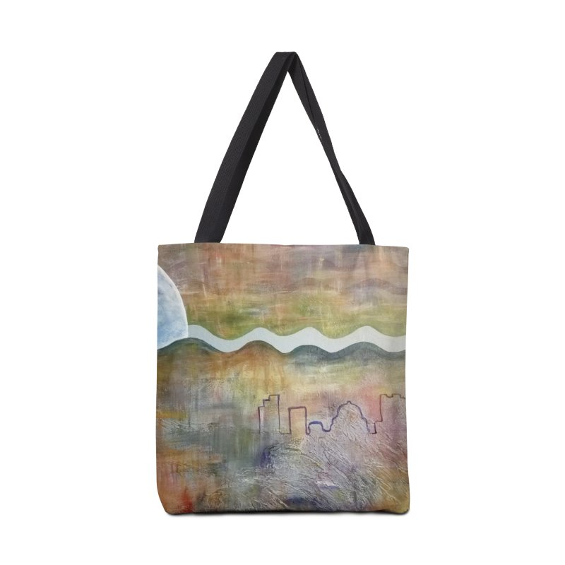 Moon City Scape Accessories Tote Bag Bag by emilyhanigan's Artist Shop