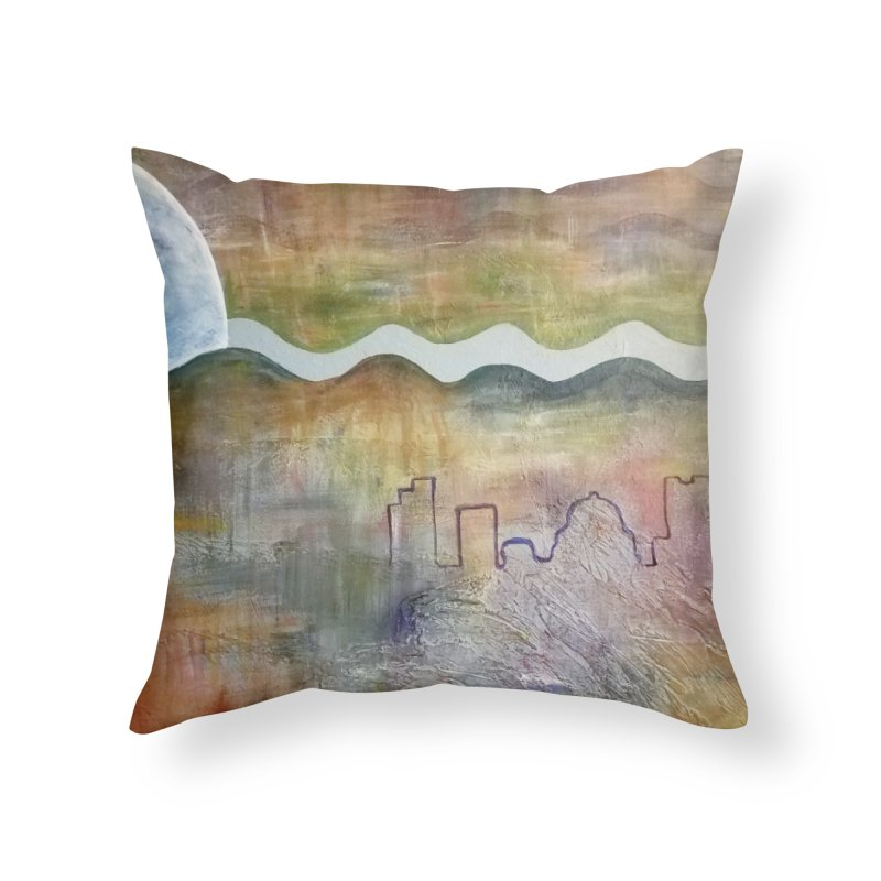 Moon City Scape Home Throw Pillow by emilyhanigan's Artist Shop