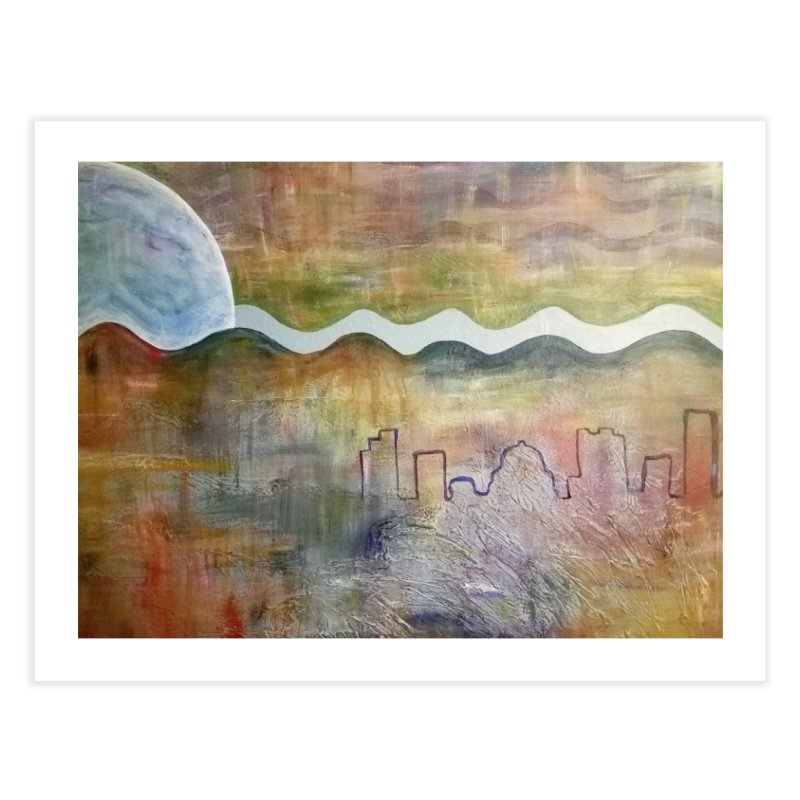 Moon City Scape Home Fine Art Print by emilyhanigan's Artist Shop