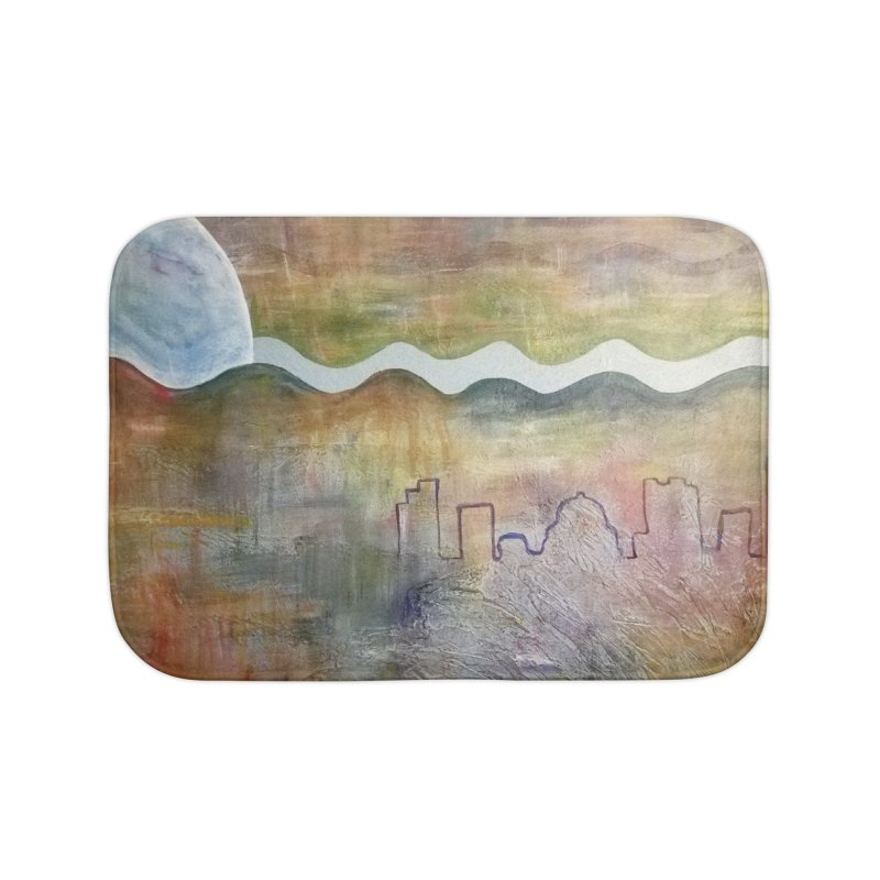 Moon City Scape Home Bath Mat by emilyhanigan's Artist Shop