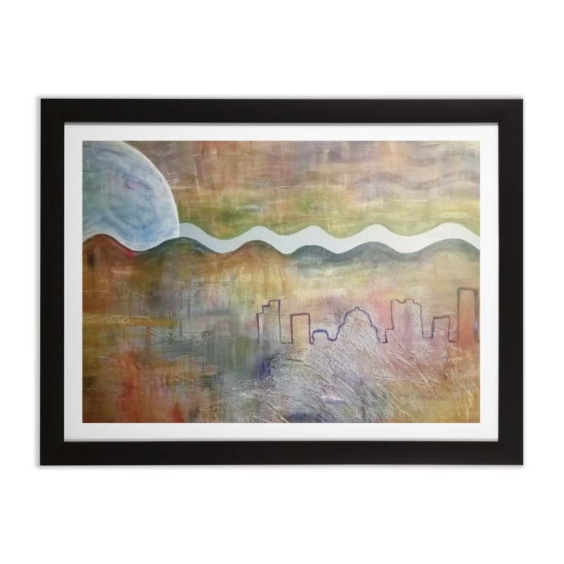 Moon City Scape Home Framed Fine Art Print by emilyhanigan's Artist Shop