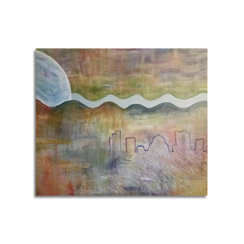 Moon City Scape Home Mounted Aluminum Print by emilyhanigan's Artist Shop