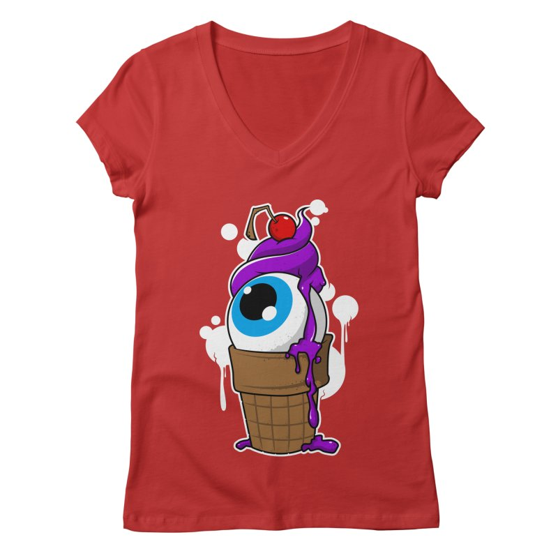 Eyescream Women's Regular V-Neck by emodistcreates's Artist Shop