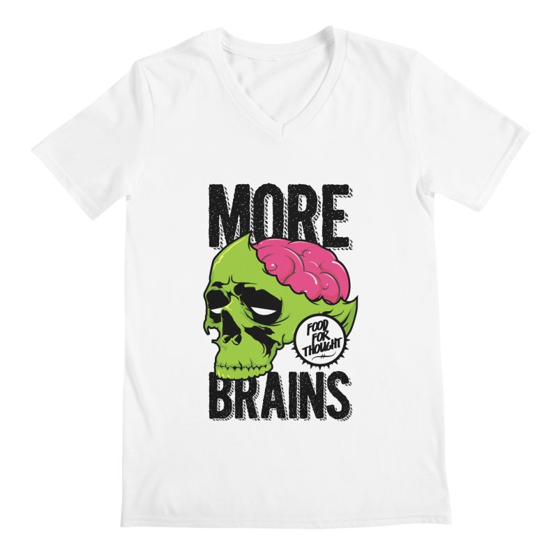 More Brains Men's Regular V-Neck by emodistcreates's Artist Shop