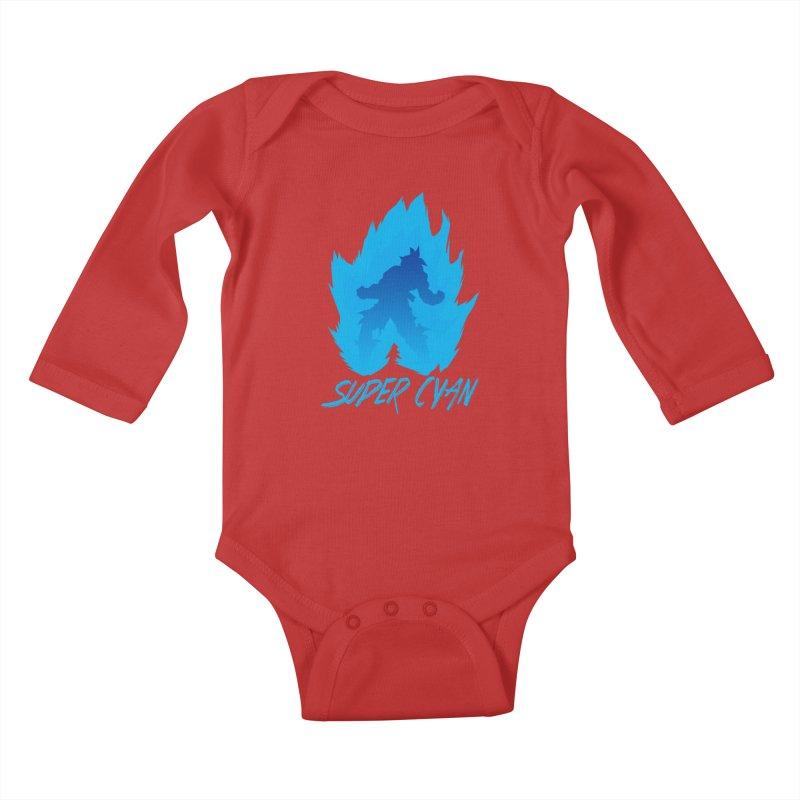 Super Cyan Kids Baby Longsleeve Bodysuit by emodistcreates's Artist Shop