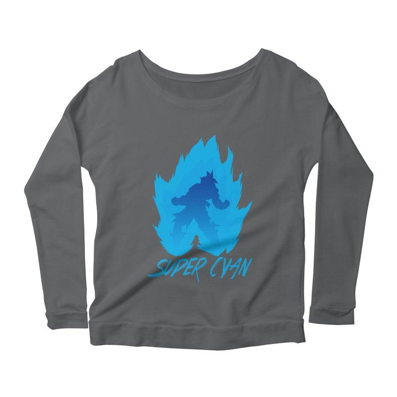Super Cyan Women's Scoop Neck Longsleeve T-Shirt by emodistcreates's Artist Shop