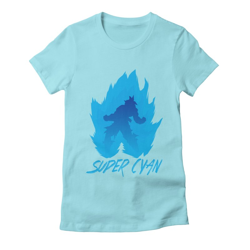 Super Cyan Women's Fitted T-Shirt by emodistcreates's Artist Shop