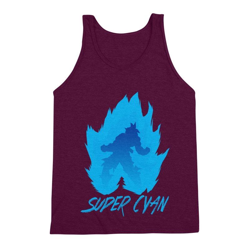 Super Cyan Men's Triblend Tank by emodistcreates's Artist Shop