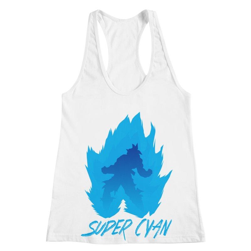 Super Cyan Women's Racerback Tank by emodistcreates's Artist Shop