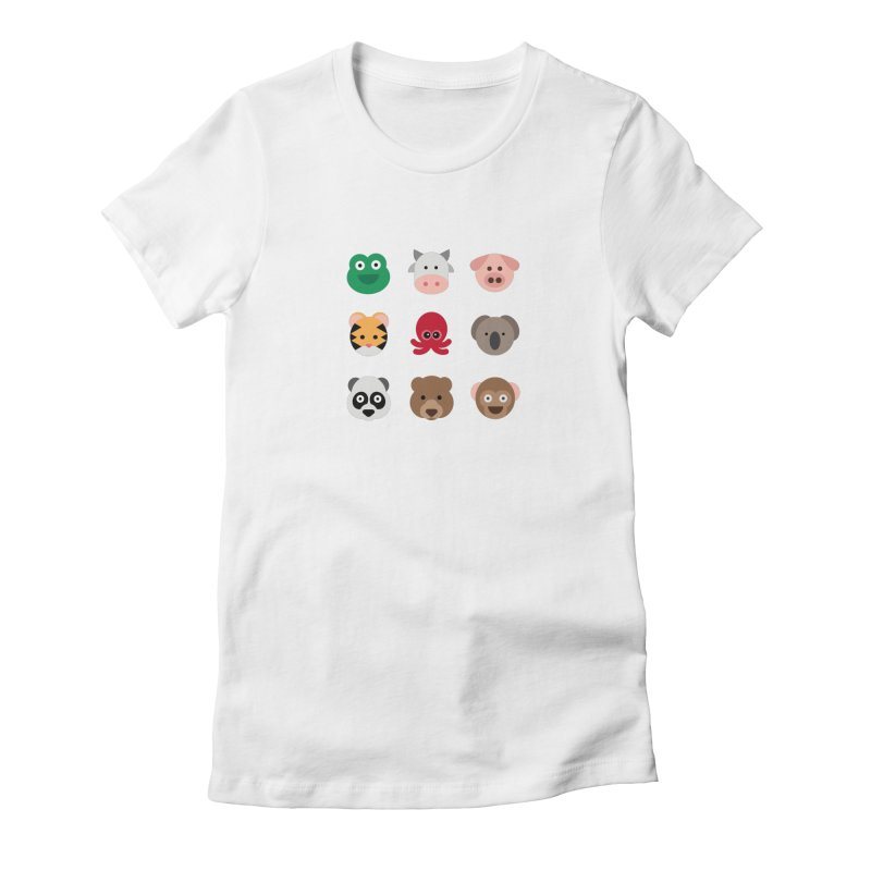 Animals Women's Fitted T-Shirt by emoji's Artist Shop