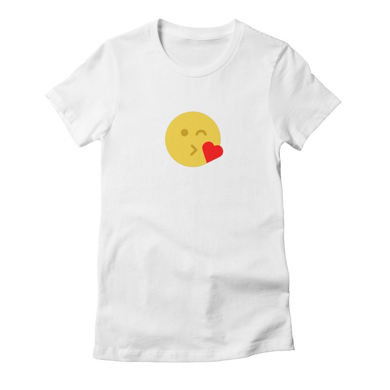 Face Throwing A Kiss Women's Fitted T-Shirt by emoji's Artist Shop