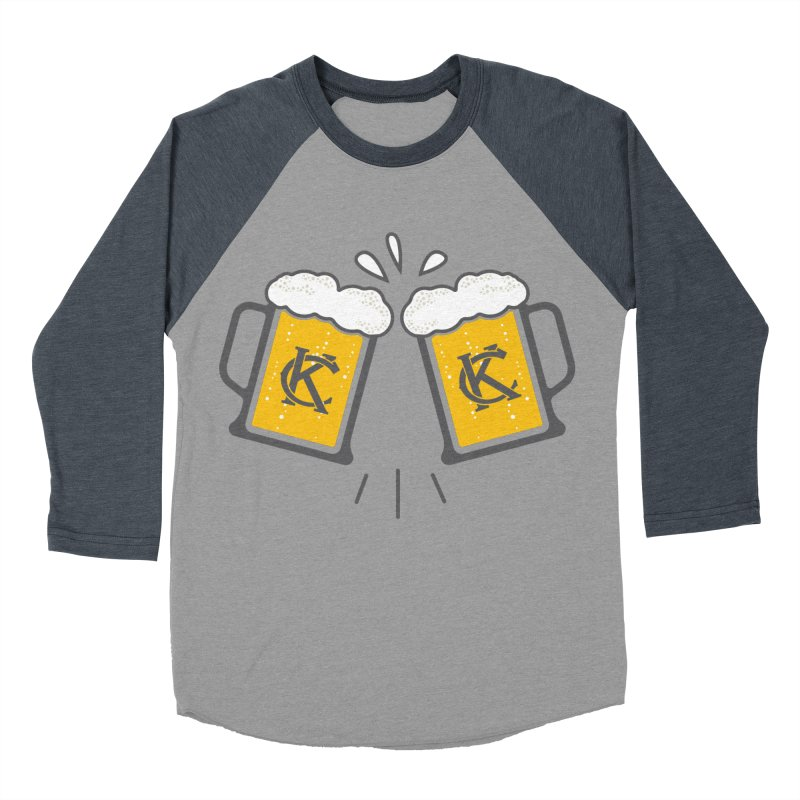 KC Beers in Men's Baseball Triblend T-Shirt Navy Sleeves by Emoji My City
