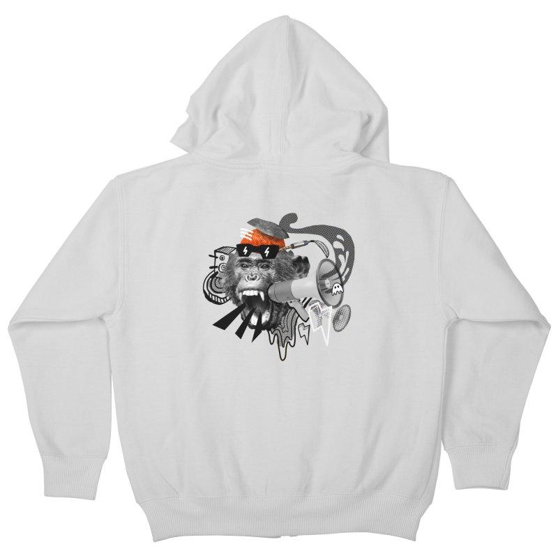 Chimpanscream Kids Zip-Up Hoody by Emojo's Artist Shop