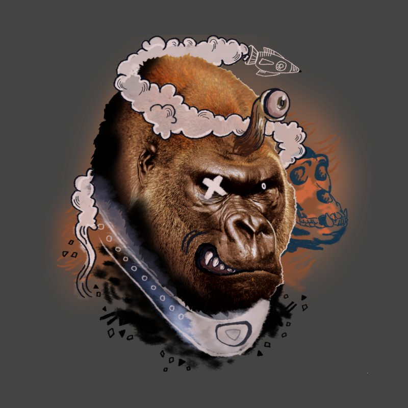 Gorilla from Manilla Men's Zip-Up Hoody by Emojo's Artist Shop