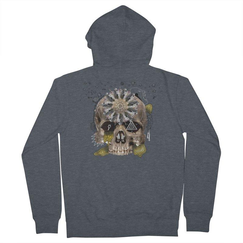 Skull Mandala Men's French Terry Zip-Up Hoody by Emojo's Artist Shop