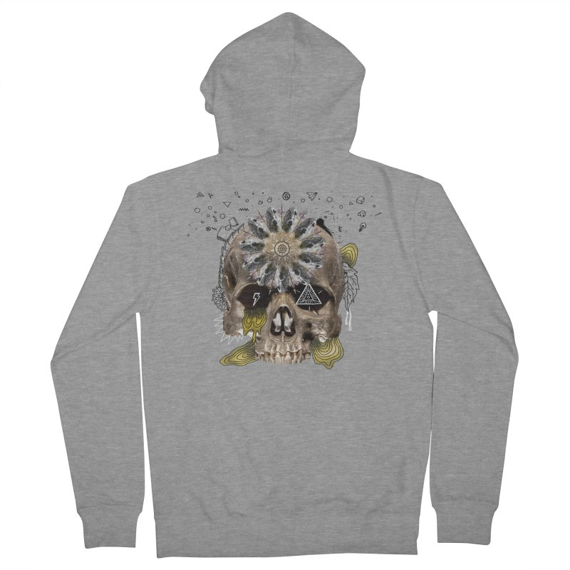 Skull Mandala Men's French Terry Zip-Up Hoody by Emojo's Artist Shop