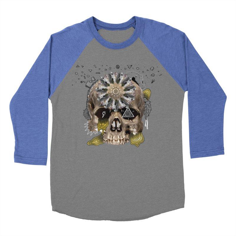 Skull Mandala Men's Baseball Triblend T-Shirt by Emojo's Artist Shop
