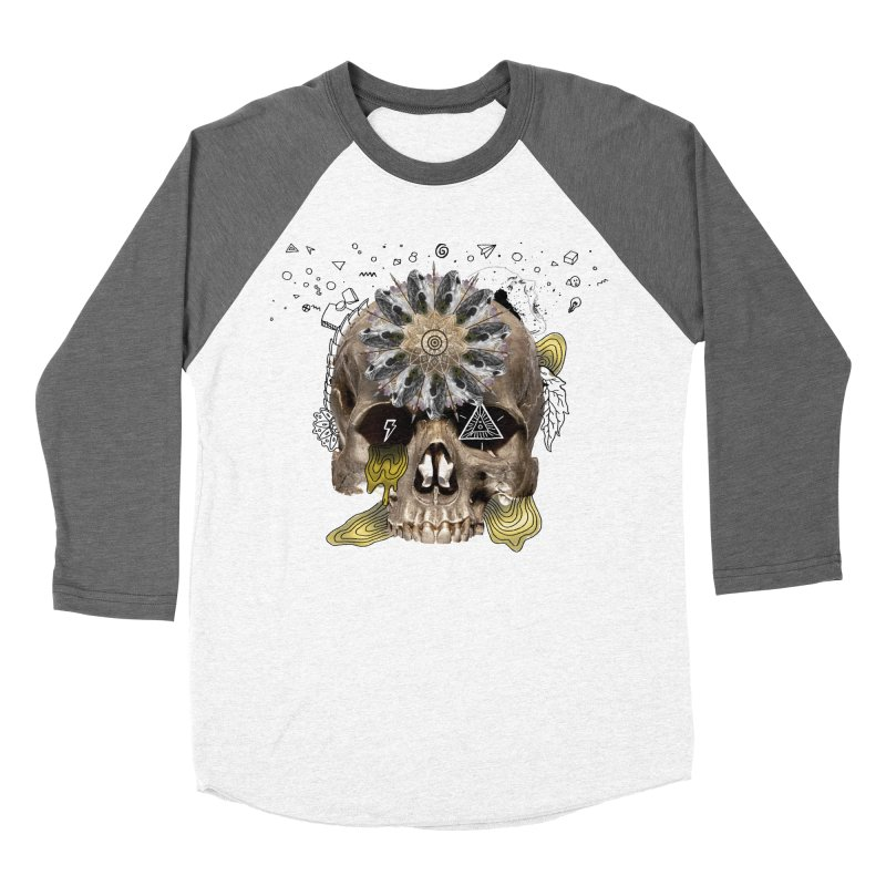Skull Mandala Men's Baseball Triblend Longsleeve T-Shirt by Emojo's Artist Shop