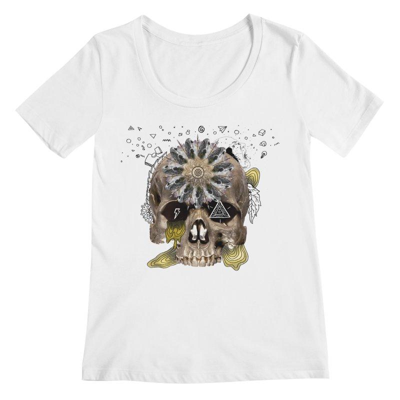 Skull Mandala Women's Regular Scoop Neck by Emojo's Artist Shop