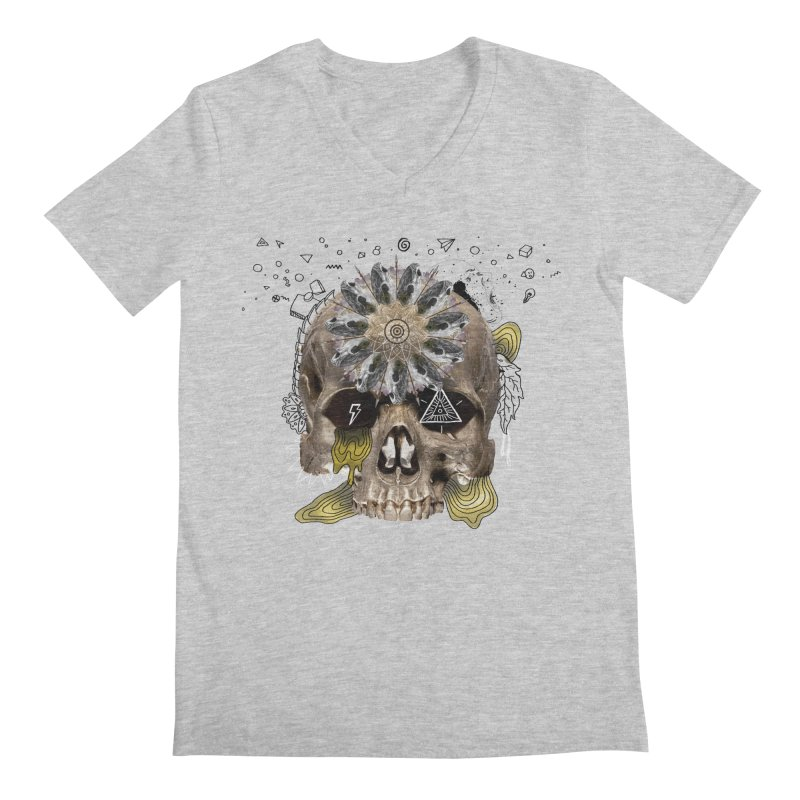 Skull Mandala Men's Regular V-Neck by Emojo's Artist Shop