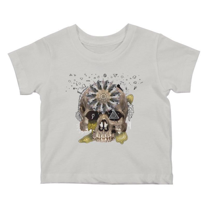 Skull Mandala Kids Baby T-Shirt by Emojo's Artist Shop