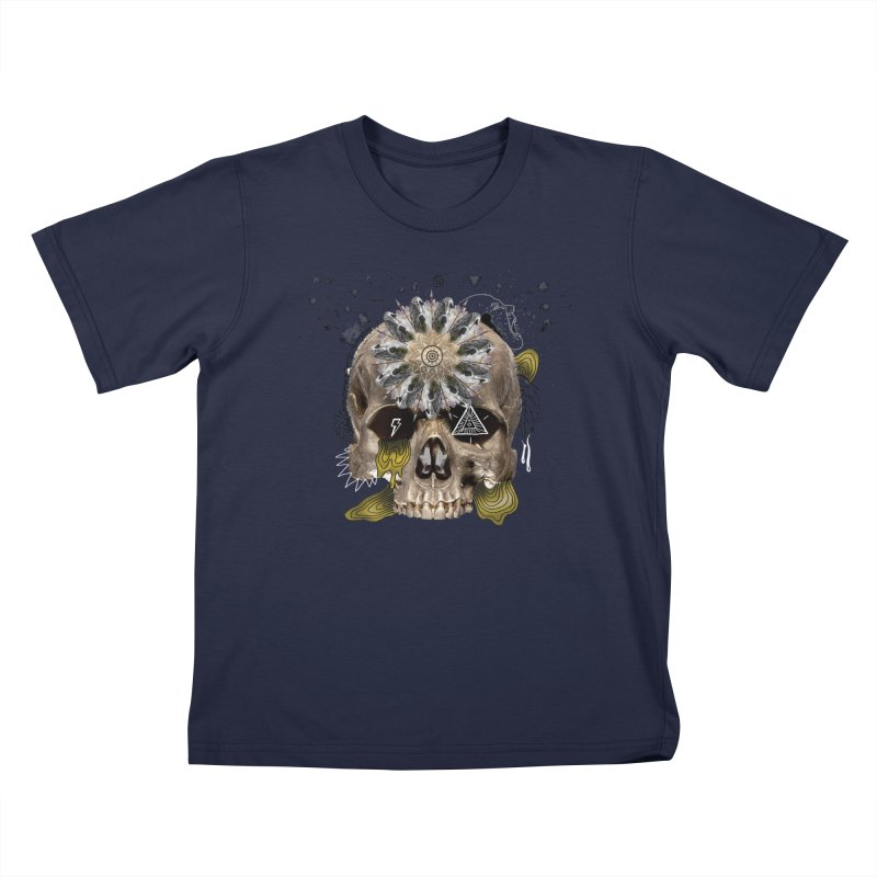 Skull Mandala Kids T-Shirt by Emojo's Artist Shop