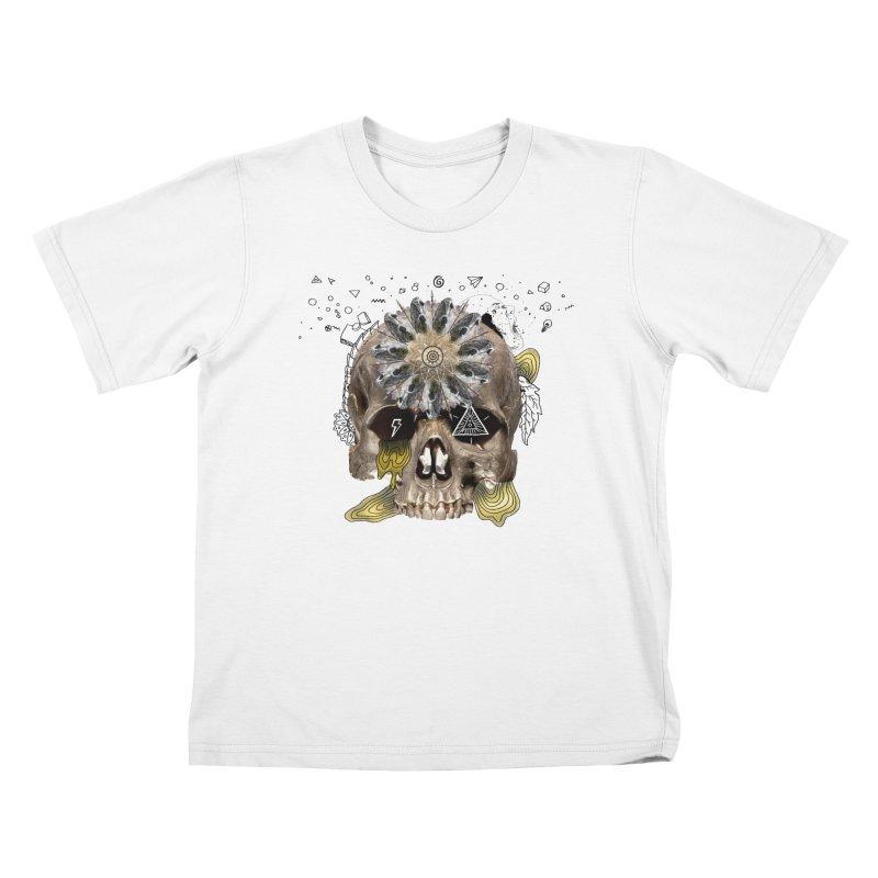 Skull Mandala Kids T-Shirt by Emojo's Artist Shop