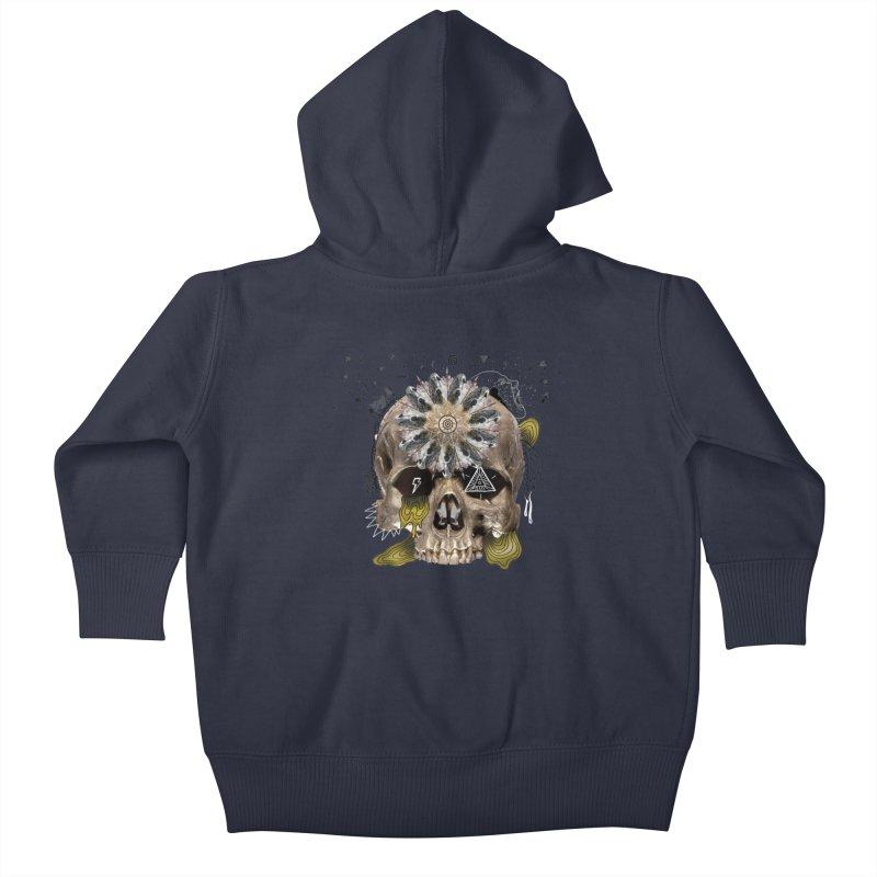 Skull Mandala Kids Baby Zip-Up Hoody by Emojo's Artist Shop