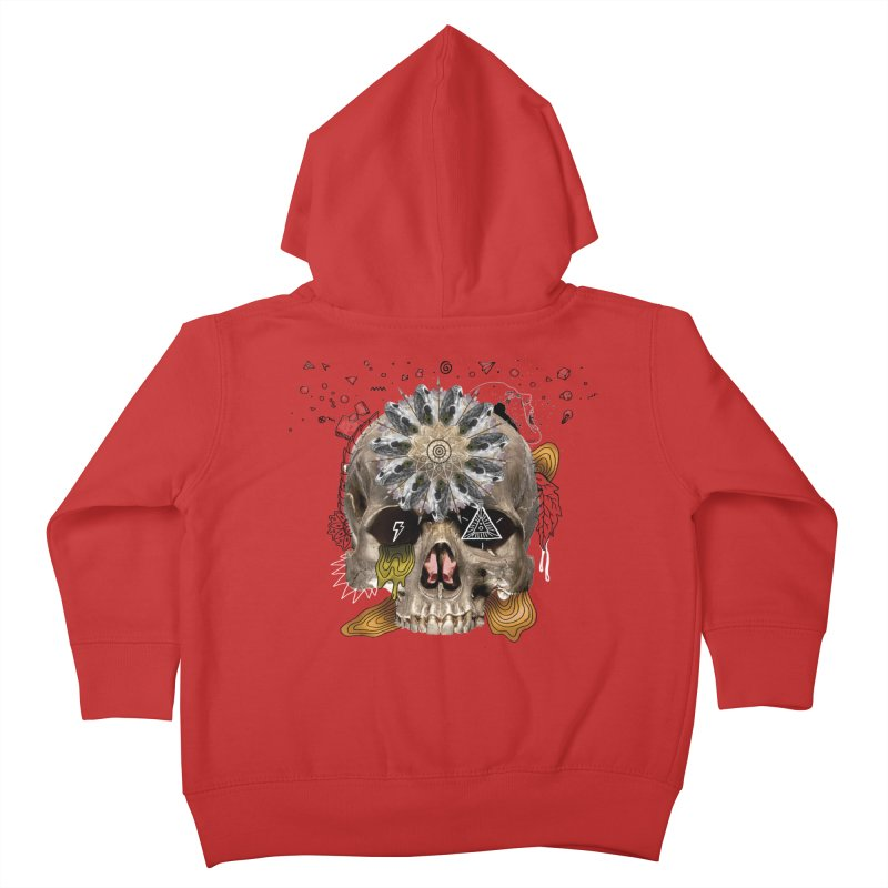 Skull Mandala Kids Toddler Zip-Up Hoody by Emojo's Artist Shop
