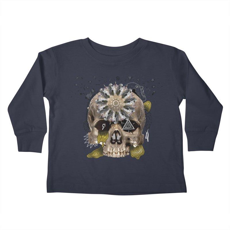 Skull Mandala Kids Toddler Longsleeve T-Shirt by Emojo's Artist Shop