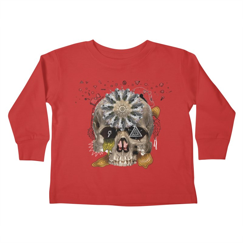Skull Mandala Kids Toddler Longsleeve T-Shirt by Emojo's Artist Shop