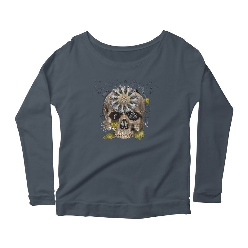 Skull Mandala Women's Scoop Neck Longsleeve T-Shirt by Emojo's Artist Shop