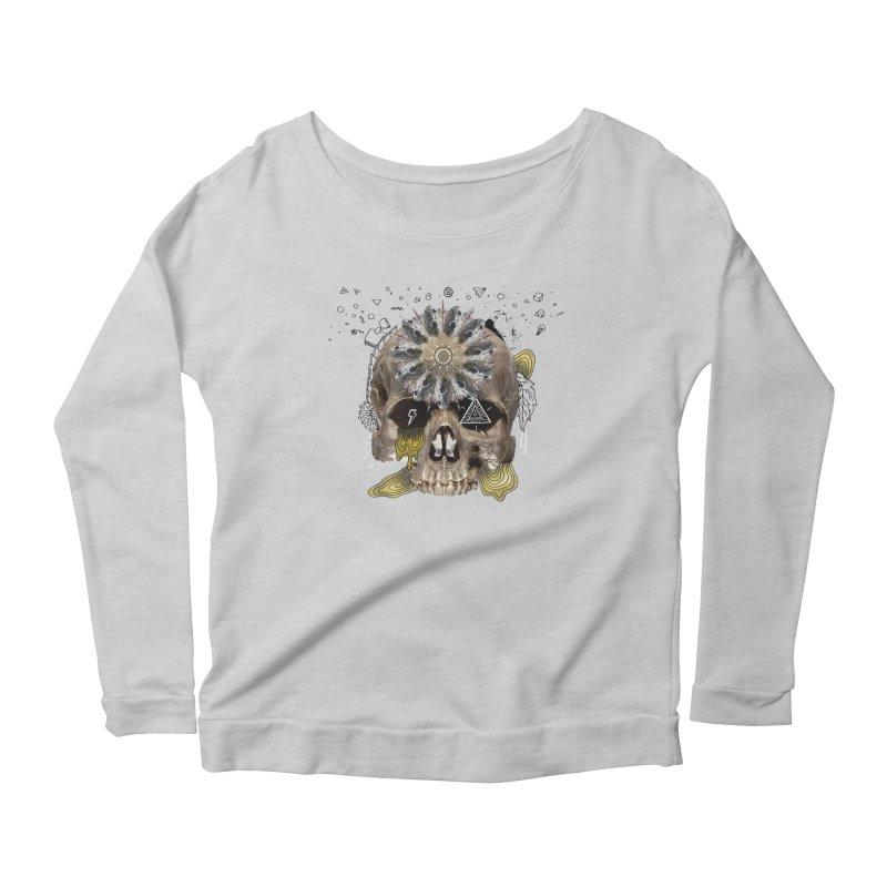 Skull Mandala Women's Scoop Neck Longsleeve T-Shirt by Emojo's Artist Shop