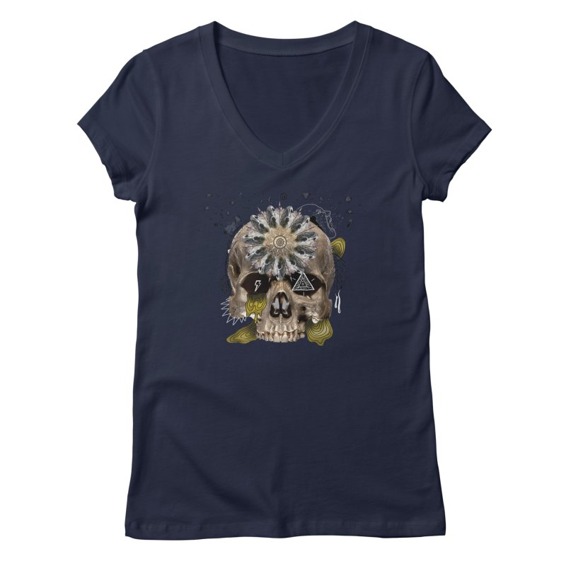 Skull Mandala Women's V-Neck by Emojo's Artist Shop