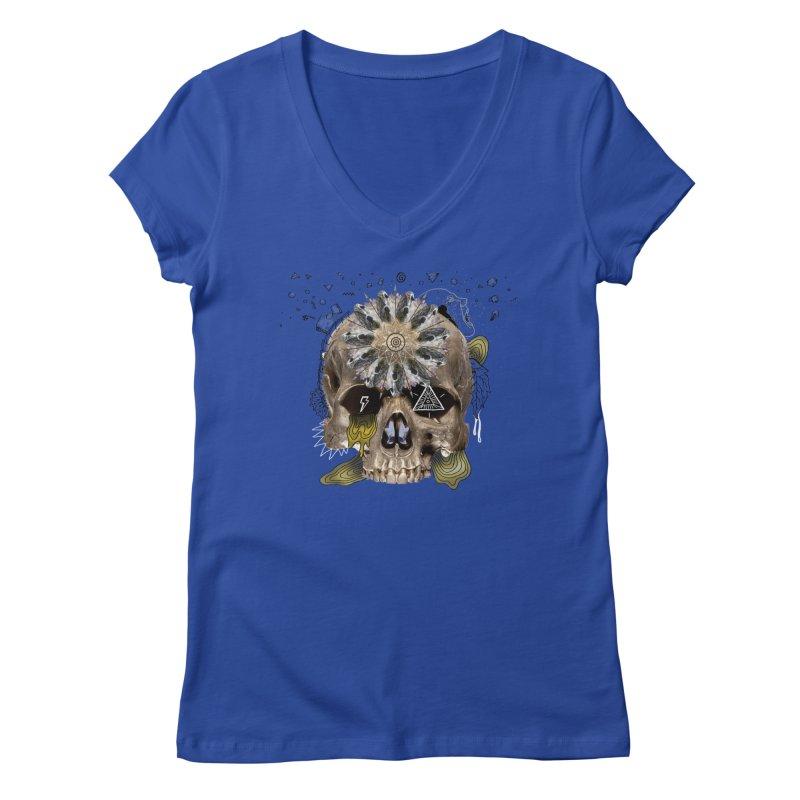 Skull Mandala Women's Regular V-Neck by Emojo's Artist Shop