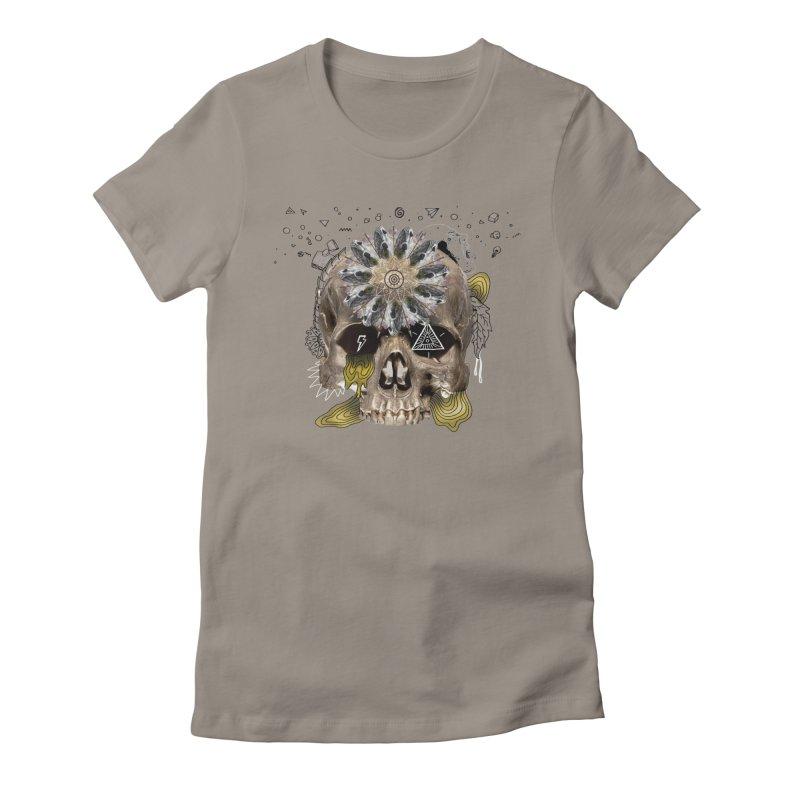Skull Mandala Women's Fitted T-Shirt by Emojo's Artist Shop