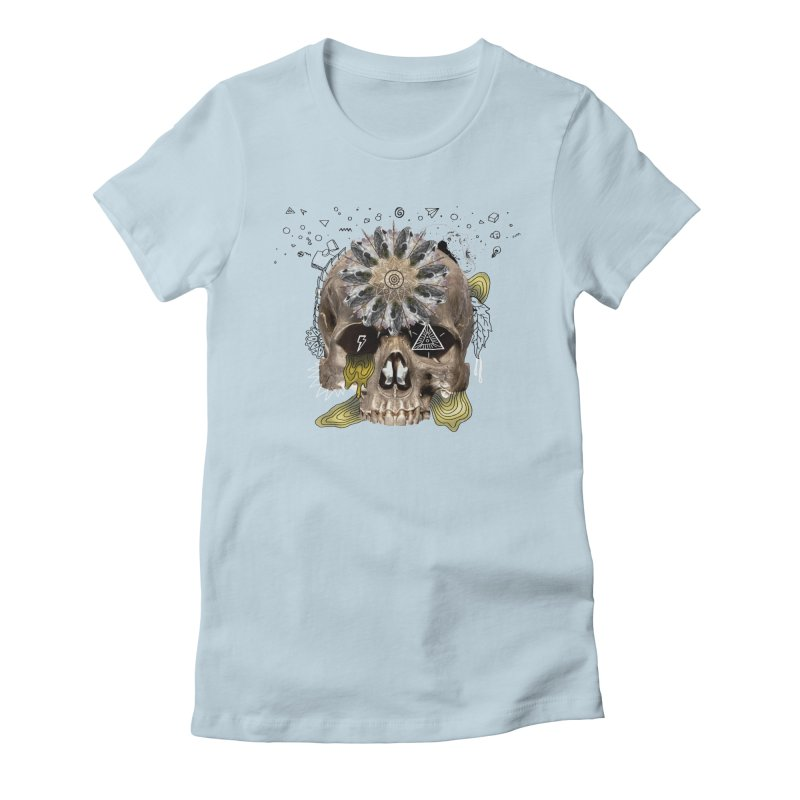 Skull Mandala Women's Fitted T-Shirt by Emojo's Artist Shop