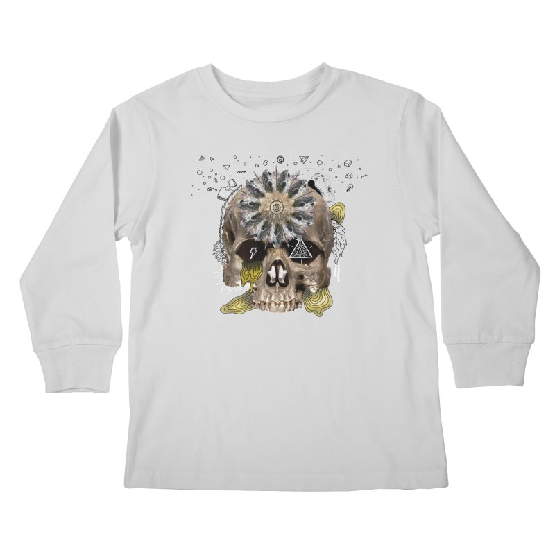 Skull Mandala Kids Longsleeve T-Shirt by Emojo's Artist Shop