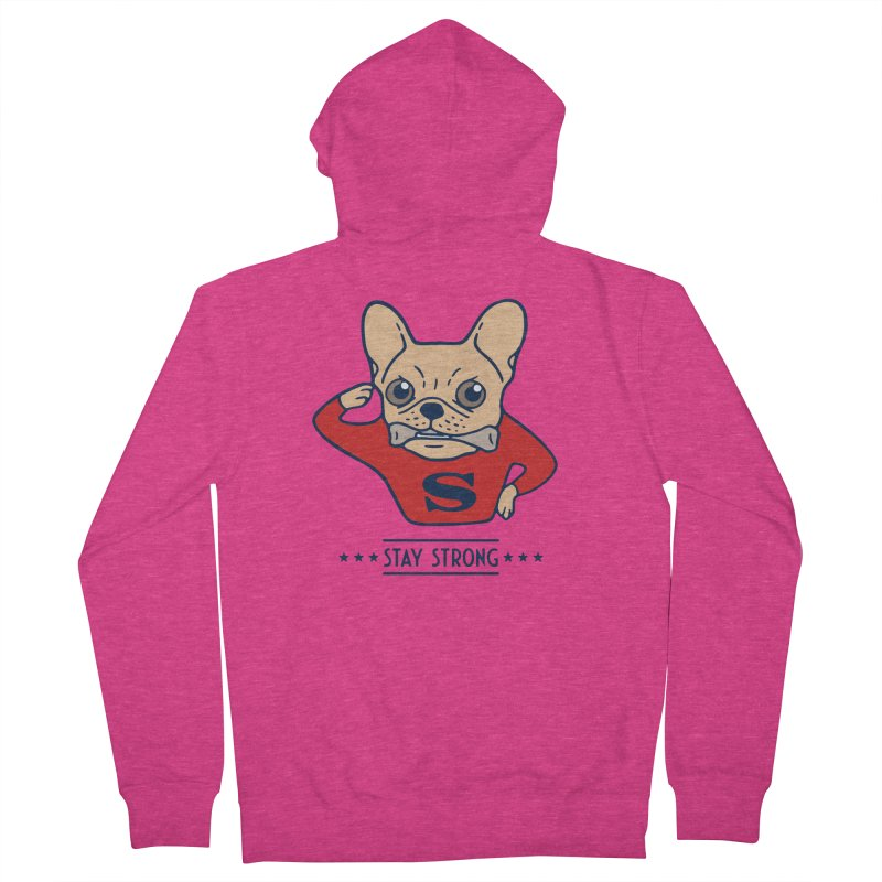 Stay strong with Super Frenchie  Women's French Terry Zip-Up Hoody by Emotional Frenchies - Cute French Bulldog T-shirts